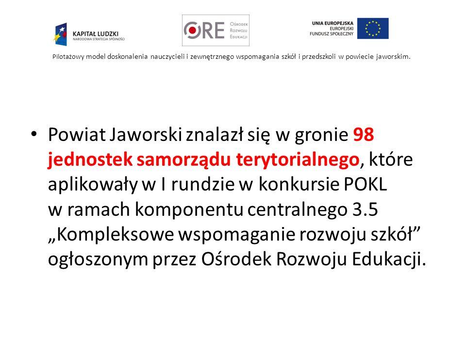 Pilotażowy model doskonalenia nauczycieli i zewnętrznego wspomagania szkół i przedszkoli w powiecie jaworskim. Powiat Jaworski znalazł się w gronie 98