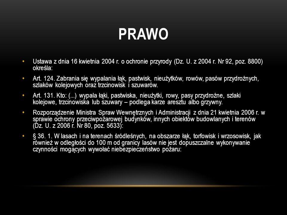 PRAWO Ustawa z dnia 16 kwietnia 2004 r. o ochronie przyrody (Dz. U. z 2004 r. Nr 92, poz. 8800) określa: Art. 124. Zabrania się wypalania łąk, pastwis