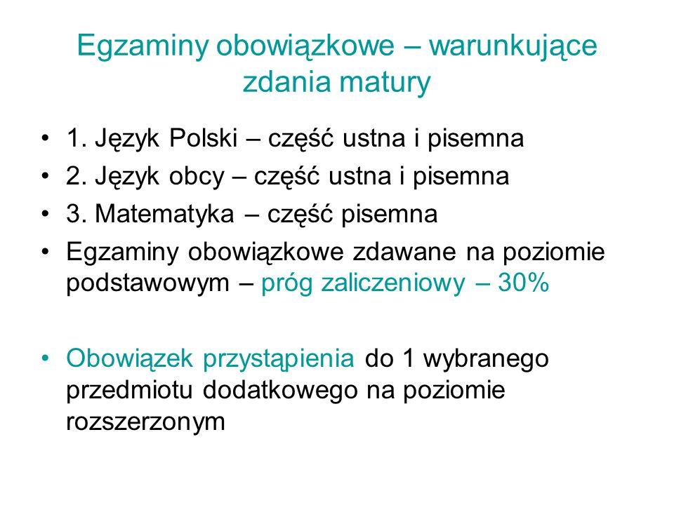 Egzaminy obowiązkowe – warunkujące zdania matury 1. Język Polski – część ustna i pisemna 2. Język obcy – część ustna i pisemna 3. Matematyka – część p