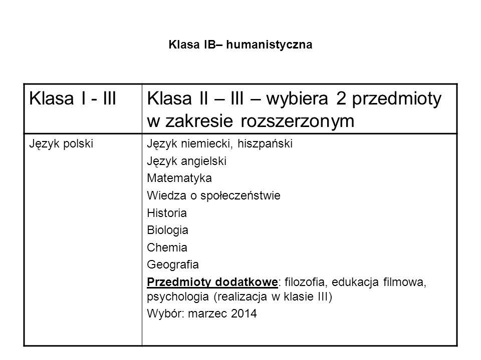 Klasa IB– humanistyczna Klasa I - IIIKlasa II – III – wybiera 2 przedmioty w zakresie rozszerzonym Język polskiJęzyk niemiecki, hiszpański Język angielski Matematyka Wiedza o społeczeństwie Historia Biologia Chemia Geografia Przedmioty dodatkowe: filozofia, edukacja filmowa, psychologia (realizacja w klasie III) Wybór: marzec 2014