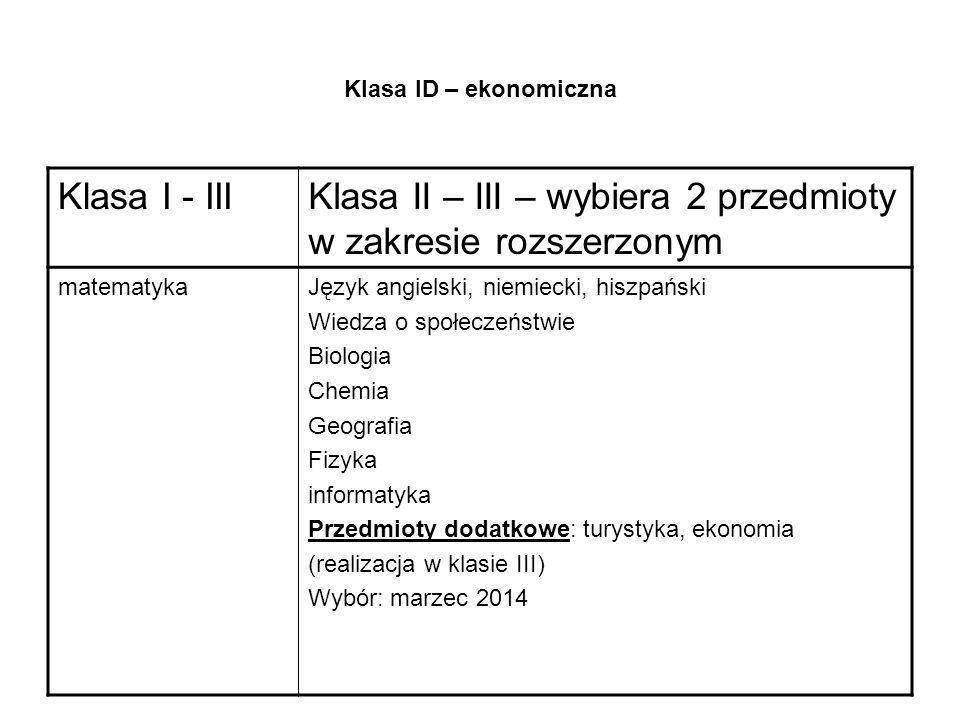 Klasa ID – ekonomiczna Klasa I - IIIKlasa II – III – wybiera 2 przedmioty w zakresie rozszerzonym matematykaJęzyk angielski, niemiecki, hiszpański Wiedza o społeczeństwie Biologia Chemia Geografia Fizyka informatyka Przedmioty dodatkowe: turystyka, ekonomia (realizacja w klasie III) Wybór: marzec 2014