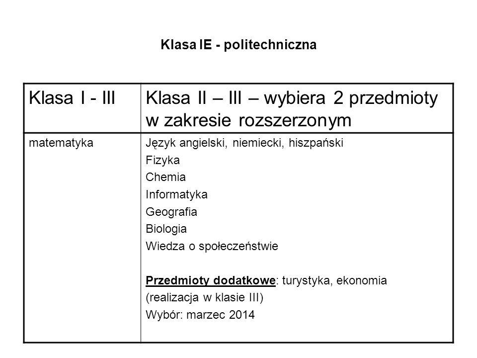 Klasa IE - politechniczna Klasa I - IIIKlasa II – III – wybiera 2 przedmioty w zakresie rozszerzonym matematykaJęzyk angielski, niemiecki, hiszpański