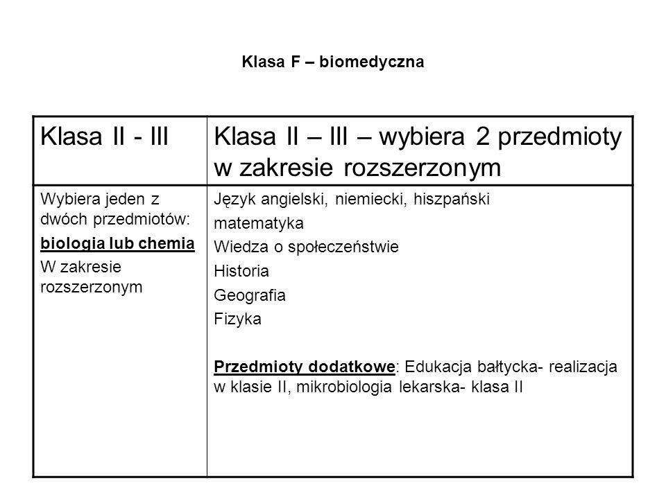 Klasa F – biomedyczna Klasa II - IIIKlasa II – III – wybiera 2 przedmioty w zakresie rozszerzonym Wybiera jeden z dwóch przedmiotów: biologia lub chemia W zakresie rozszerzonym Język angielski, niemiecki, hiszpański matematyka Wiedza o społeczeństwie Historia Geografia Fizyka Przedmioty dodatkowe: Edukacja bałtycka- realizacja w klasie II, mikrobiologia lekarska- klasa II