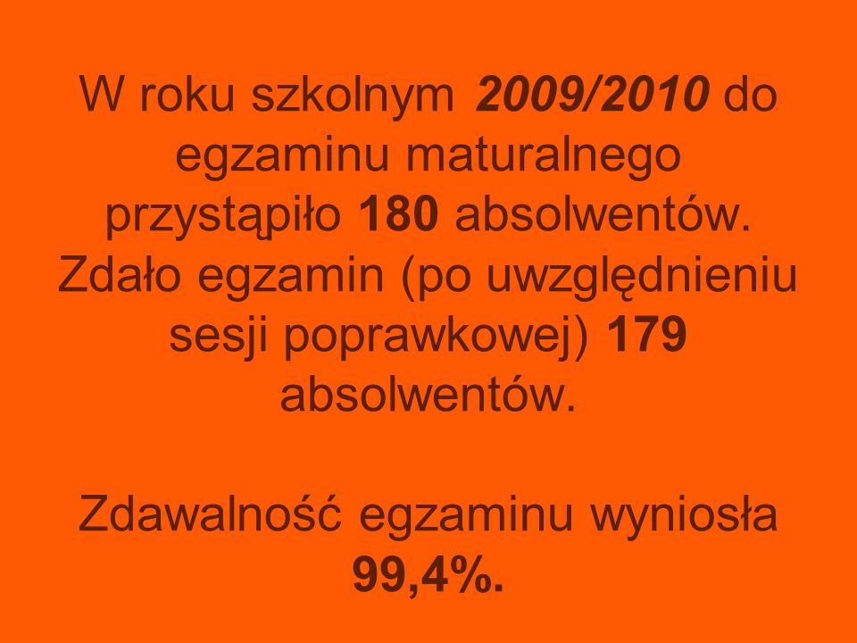 W roku szkolnym 2009/2010 do egzaminu maturalnego przystąpiło 180 absolwentów. Zdało egzamin (po uwzględnieniu sesji poprawkowej) 179 absolwentów. Zda