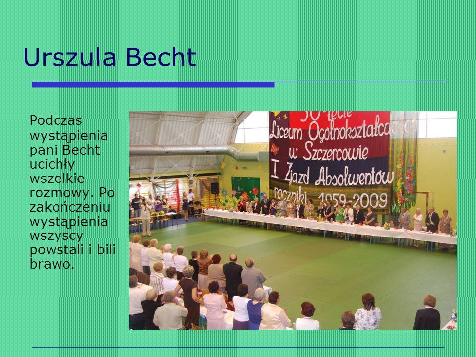 Urszula Becht Podczas wystąpienia pani Becht ucichły wszelkie rozmowy. Po zakończeniu wystąpienia wszyscy powstali i bili brawo.