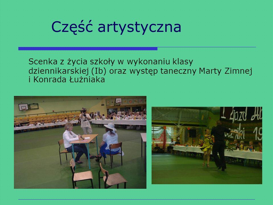 Część artystyczna Scenka z życia szkoły w wykonaniu klasy dziennikarskiej (Ib) oraz występ taneczny Marty Zimnej i Konrada Łużniaka