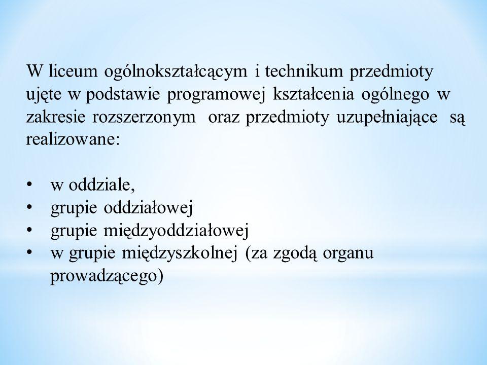 Wariant I Klasy pierwsze są niesprofilowane (z wyjątkiem j.