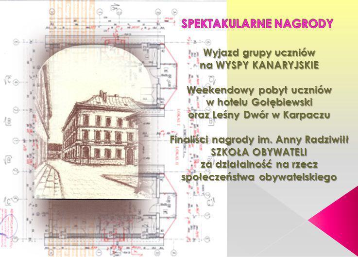 Wyjazd grupy uczniów na WYSPY KANARYJSKIE Weekendowy pobyt uczniów w hotelu Gołębiewski oraz Leśny Dwór w Karpaczu Finaliści nagrody im. Anny Radziwił