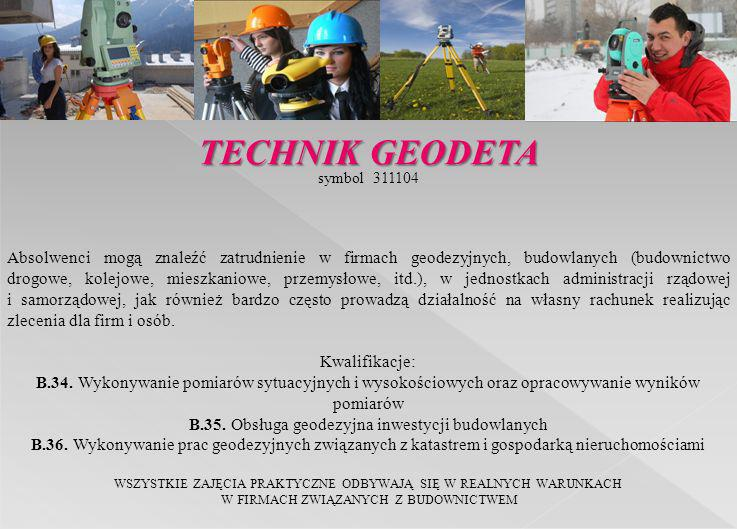 symbol 311104 Absolwenci mogą znaleźć zatrudnienie w firmach geodezyjnych, budowlanych (budownictwo drogowe, kolejowe, mieszkaniowe, przemysłowe, itd.