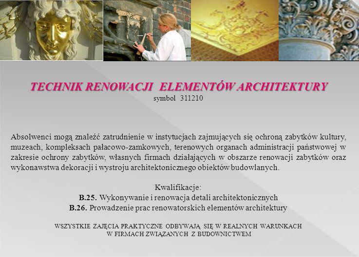 symbol 311210 Absolwenci mogą znaleźć zatrudnienie w instytucjach zajmujących się ochroną zabytków kultury, muzeach, kompleksach pałacowo-zamkowych, t