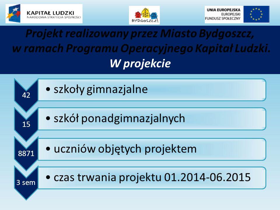 42 szkoły gimnazjalne 15 szkół ponadgimnazjalnych 8871 uczniów objętych projektem 3 sem czas trwania projektu 01.2014-06.2015 Projekt realizowany przez Miasto Bydgoszcz, w ramach Programu Operacyjnego Kapitał Ludzki.