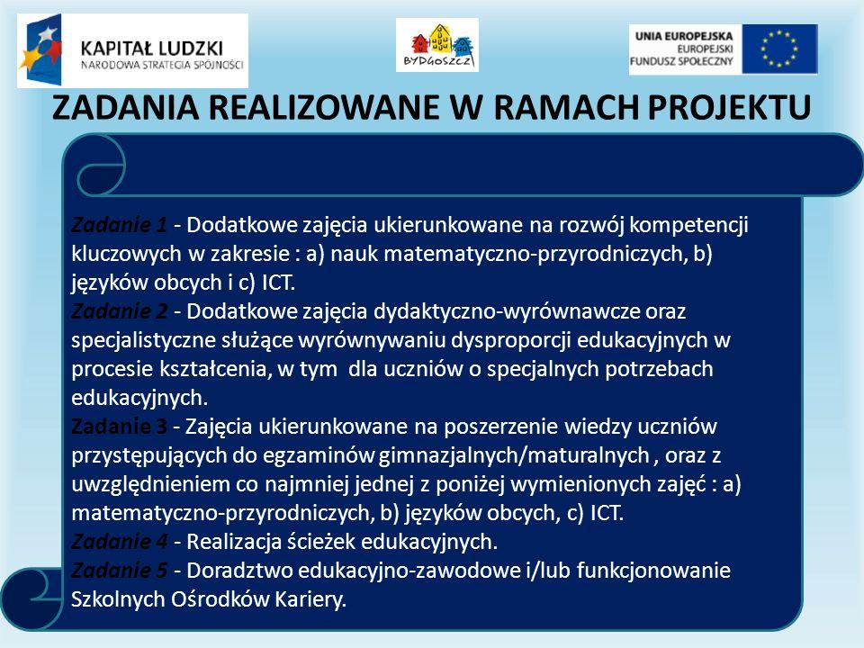 ZADANIA REALIZOWANE W RAMACH PROJEKTU Zadanie 1 - Dodatkowe zajęcia ukierunkowane na rozwój kompetencji kluczowych w zakresie : a) nauk matematyczno-przyrodniczych, b) języków obcych i c) ICT.