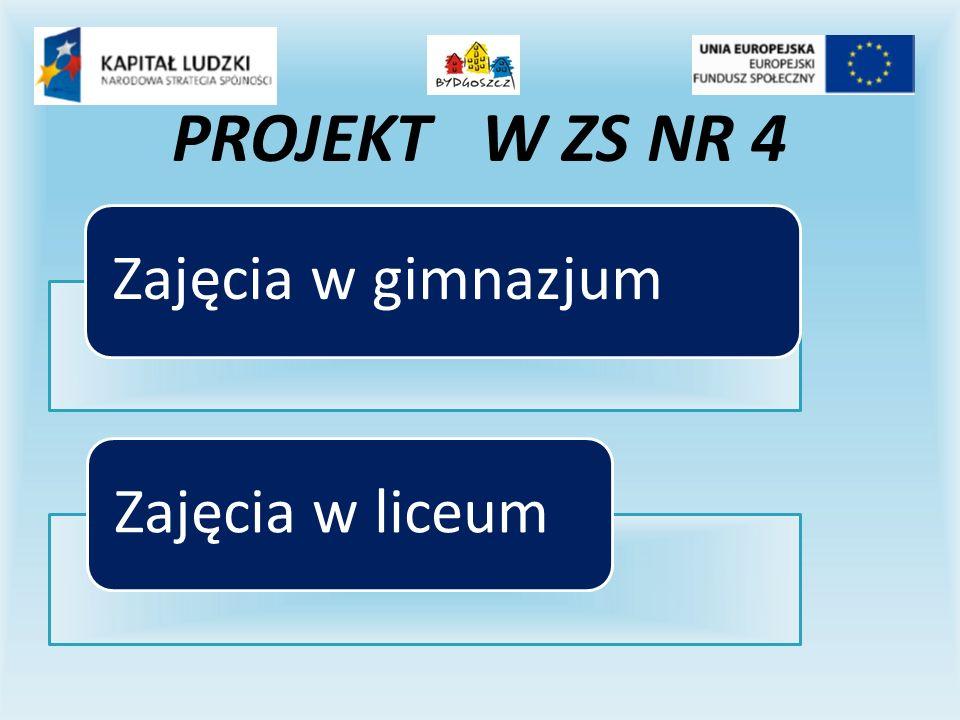 Zajęcia w gimnazjumZajęcia w liceum PROJEKT W ZS NR 4