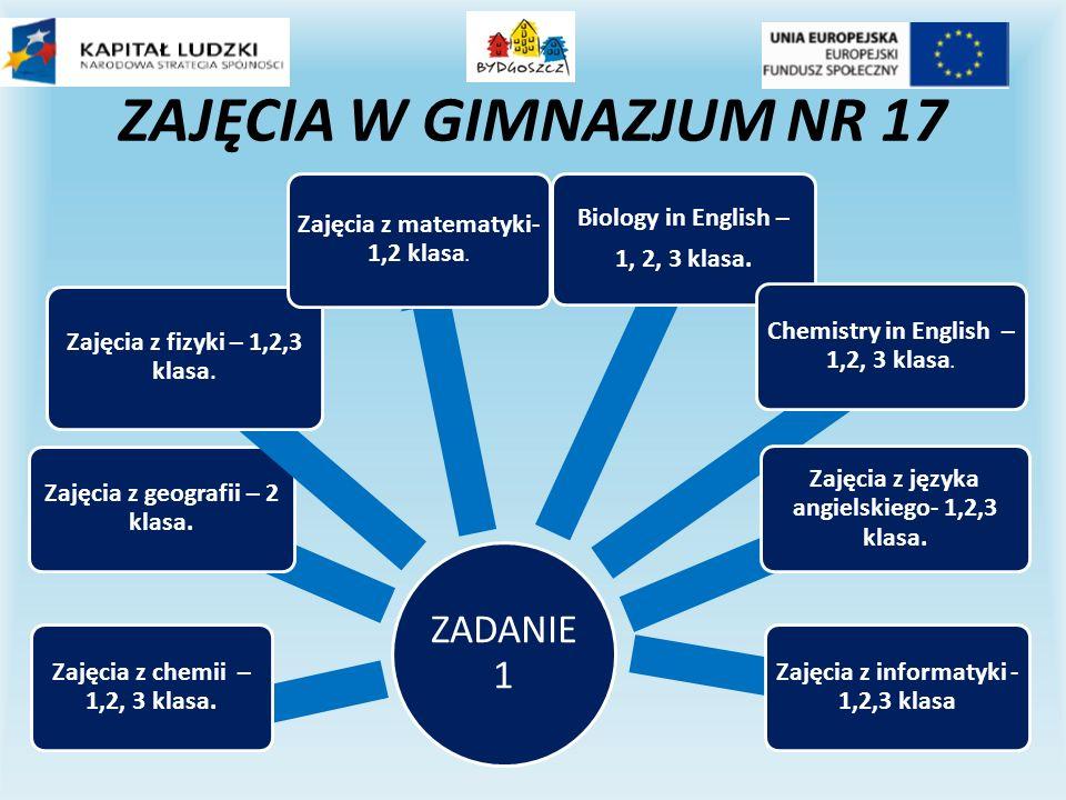 ZAJĘCIA W GIMNAZJUM NR 17 ZADANIE 1 Zajęcia z chemii – 1,2, 3 klasa.