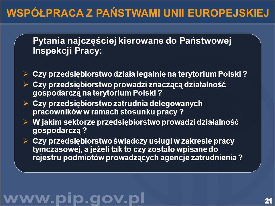 212121212121212121212121212121212121 WSPÓŁPRACA Z PAŃSTWAMI UNII EUROPEJSKIEJ Pytania najczęściej kierowane do Państwowej Inspekcji Pracy: Czy przedsi