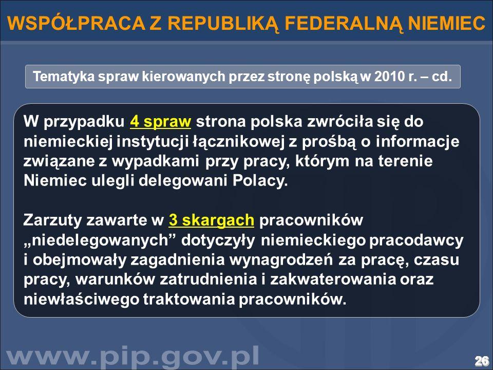 26262626262626262626262626262626262626262626262626262626 Tematyka spraw kierowanych przez stronę polską w 2010 r. – cd. WSPÓŁPRACA Z REPUBLIKĄ FEDERAL