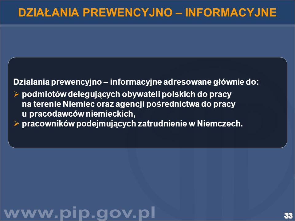 33333333333333333333333333333333333333333333333333333333 DZIAŁANIA PREWENCYJNO – INFORMACYJNE Działania prewencyjno – informacyjne adresowane głównie