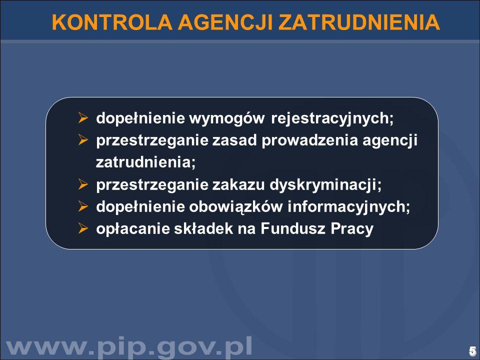 5555555555555555555555555555 KONTROLA AGENCJI ZATRUDNIENIA dopełnienie wymogów rejestracyjnych; przestrzeganie zasad prowadzenia agencji zatrudnienia;