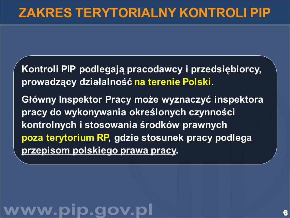 6666666666666666666666666666 ZAKRES TERYTORIALNY KONTROLI PIP Kontroli PIP podlegają pracodawcy i przedsiębiorcy, prowadzący działalność na terenie Po