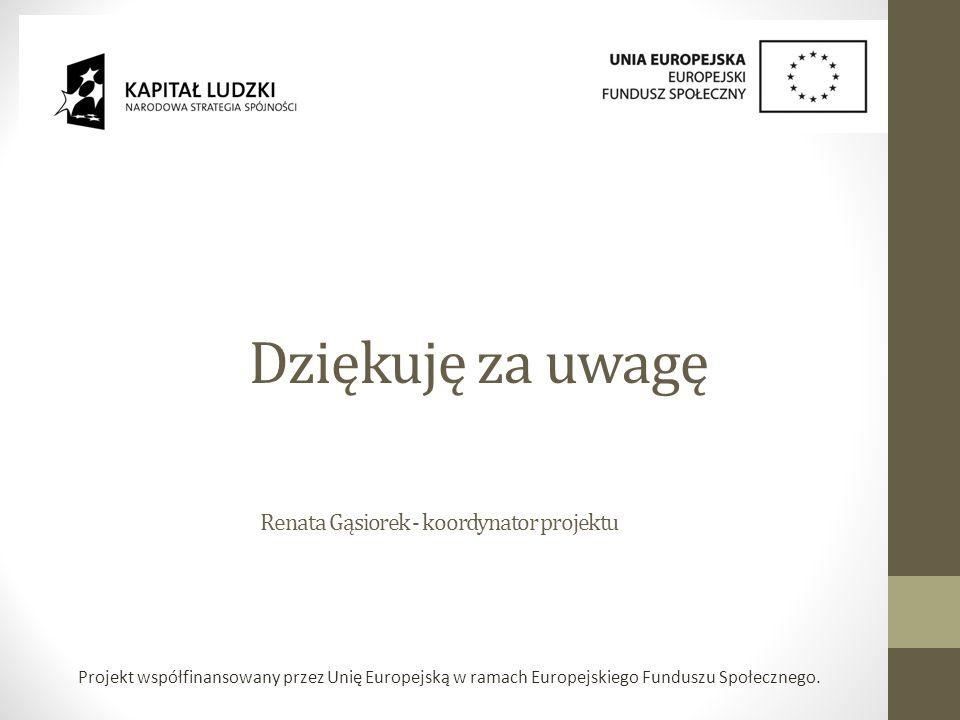 Projekt współfinansowany przez Unię Europejską w ramach Europejskiego Funduszu Społecznego.
