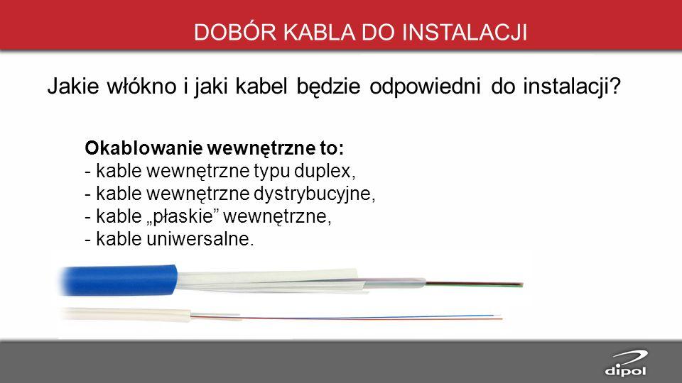 DOBÓR KABLA DO INSTALACJI Okablowanie wewnętrzne to: - kable wewnętrzne typu duplex, - kable wewnętrzne dystrybucyjne, - kable płaskie wewnętrzne, - k