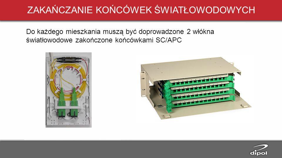 ZAKAŃCZANIE KOŃCÓWEK ŚWIATŁOWODOWYCH Do każdego mieszkania muszą być doprowadzone 2 włókna światłowodowe zakończone końcówkami SC/APC