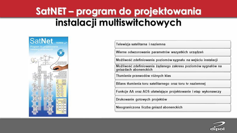 SatNET – program do projektowania instalacji multiswitchowych Telewizja satelitarna i naziemnaWierne odwzorowanie parametrów wszystkich urządzeńMożliw