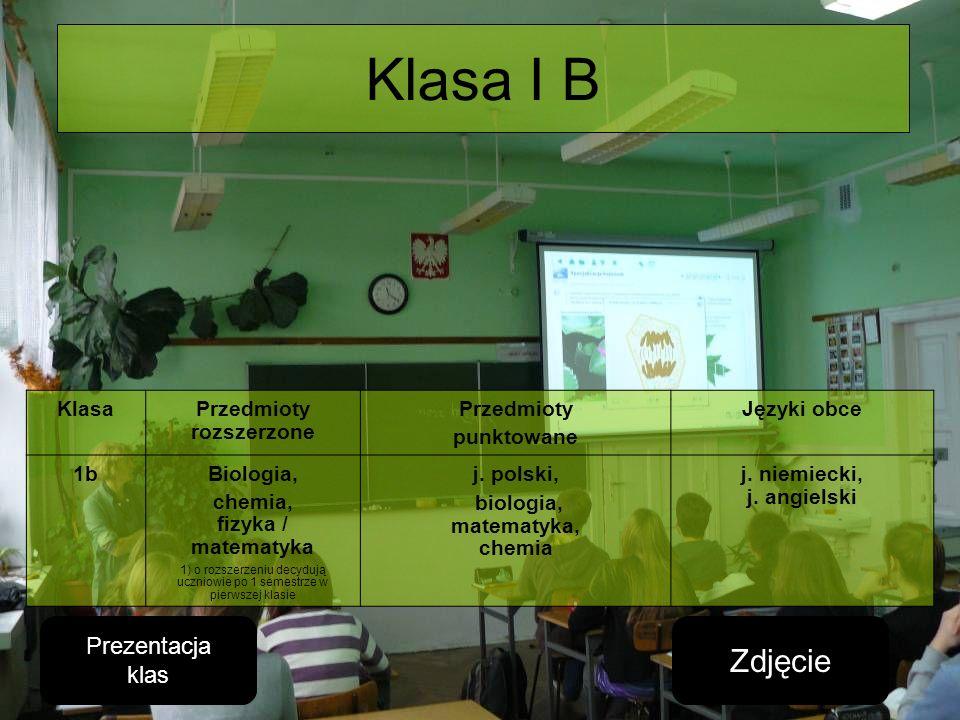 Klasa I B KlasaPrzedmioty rozszerzone Przedmioty punktowane Języki obce 1bBiologia, chemia, fizyka / matematyka 1) o rozszerzeniu decydują uczniowie p