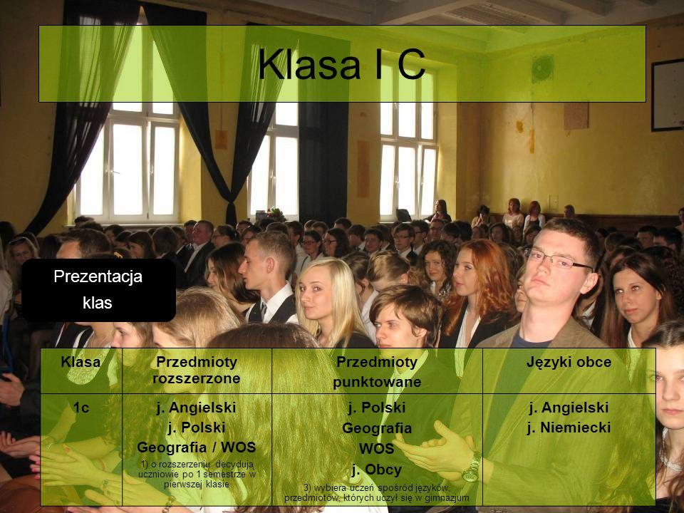 Klasa I C KlasaPrzedmioty rozszerzone Przedmioty punktowane Języki obce 1cj. Angielski j. Polski Geografia / WOS 1) o rozszerzeniu decydują uczniowie