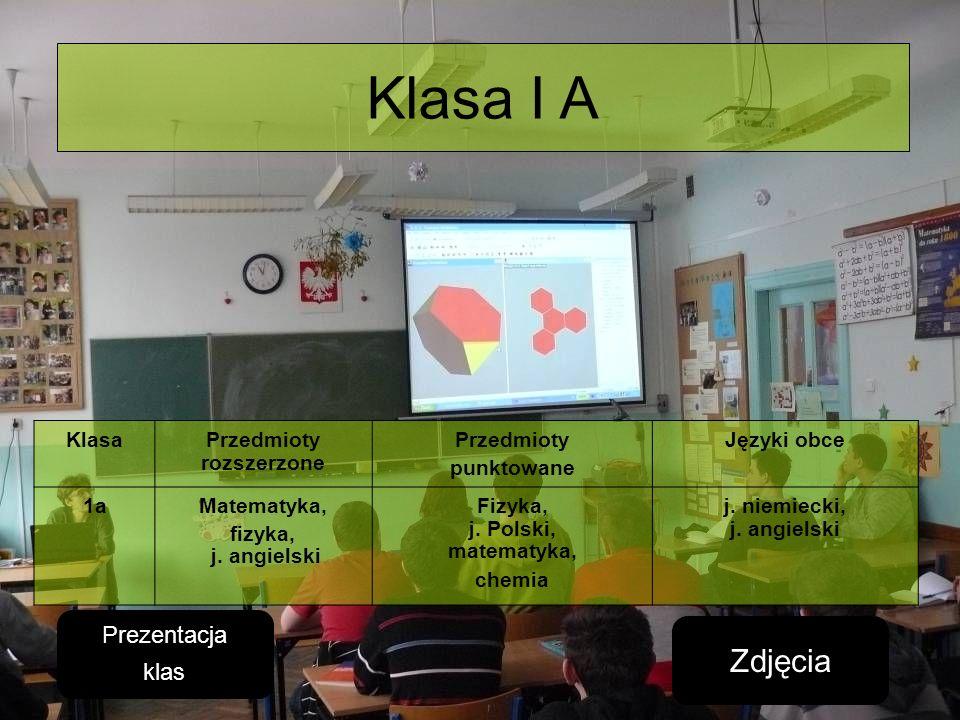 Klasa I A KlasaPrzedmioty rozszerzone Przedmioty punktowane Języki obce 1aMatematyka, fizyka, j. angielski Fizyka, j. Polski, matematyka, chemia j. ni