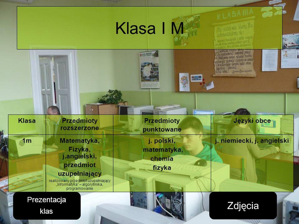 Klasa I M KlasaPrzedmioty rozszerzone Przedmioty punktowane Języki obce 1mMatematyka, Fizyka, j.angielski, przedmiot uzupełniający realizowany przedmi