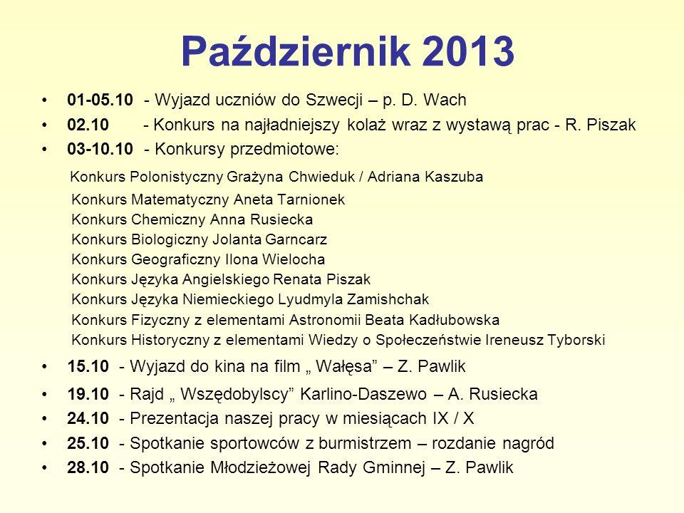 Październik 2013 01-05.10 - Wyjazd uczniów do Szwecji – p. D. Wach 02.10 - Konkurs na najładniejszy kolaż wraz z wystawą prac - R. Piszak 03-10.10 - K
