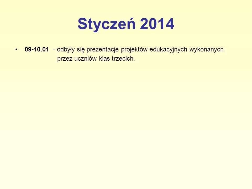 Styczeń 2014 09-10.01 - odbyły się prezentacje projektów edukacyjnych wykonanych przez uczniów klas trzecich.