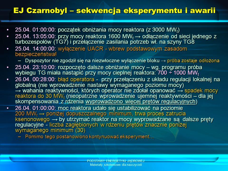 PODSTAWY ENERGETYKI JĄDROWEJ Materiały szkoleniowe dla nauczycieli EJ Czarnobyl – sekwencja eksperymentu i awarii 25.04. 01:00:00: początek obniżania