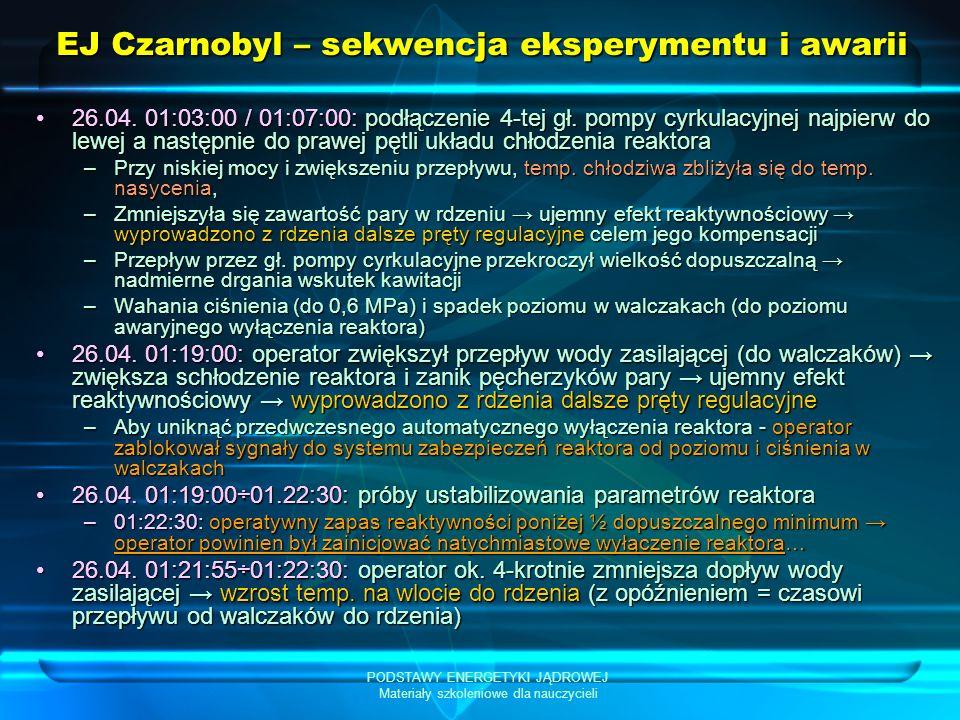 PODSTAWY ENERGETYKI JĄDROWEJ Materiały szkoleniowe dla nauczycieli EJ Czarnobyl – sekwencja eksperymentu i awarii 26.04. 01:03:00 / 01:07:00: podłącze