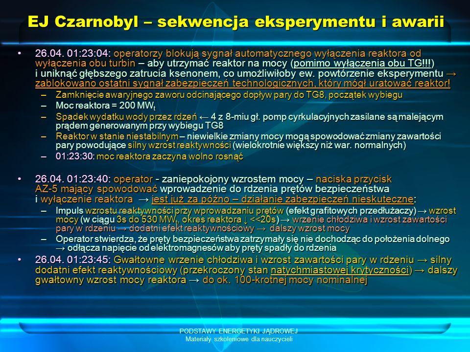 PODSTAWY ENERGETYKI JĄDROWEJ Materiały szkoleniowe dla nauczycieli EJ Czarnobyl – sekwencja eksperymentu i awarii 26.04. 01:23:04: operatorzy blokują