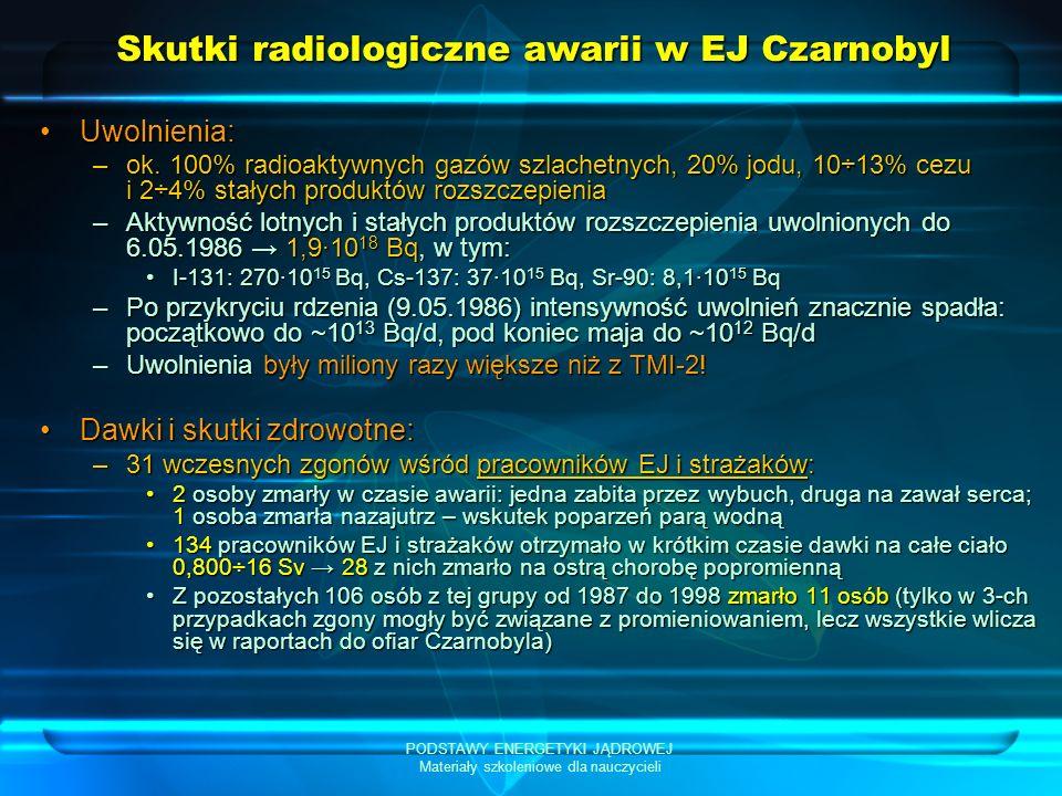 PODSTAWY ENERGETYKI JĄDROWEJ Materiały szkoleniowe dla nauczycieli Skutki radiologiczne awarii w EJ Czarnobyl Uwolnienia:Uwolnienia: –ok. 100% radioak