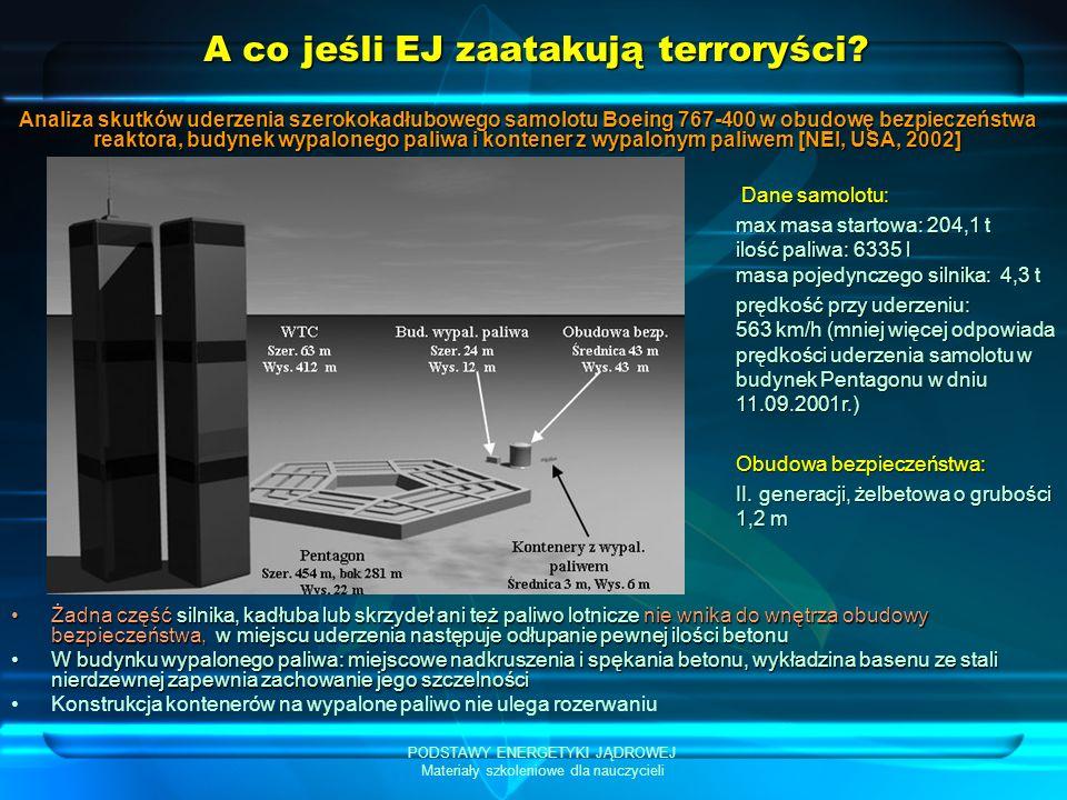 PODSTAWY ENERGETYKI JĄDROWEJ Materiały szkoleniowe dla nauczycieli A co jeśli EJ zaatakują terroryści? Żadna część silnika, kadłuba lub skrzydeł ani t