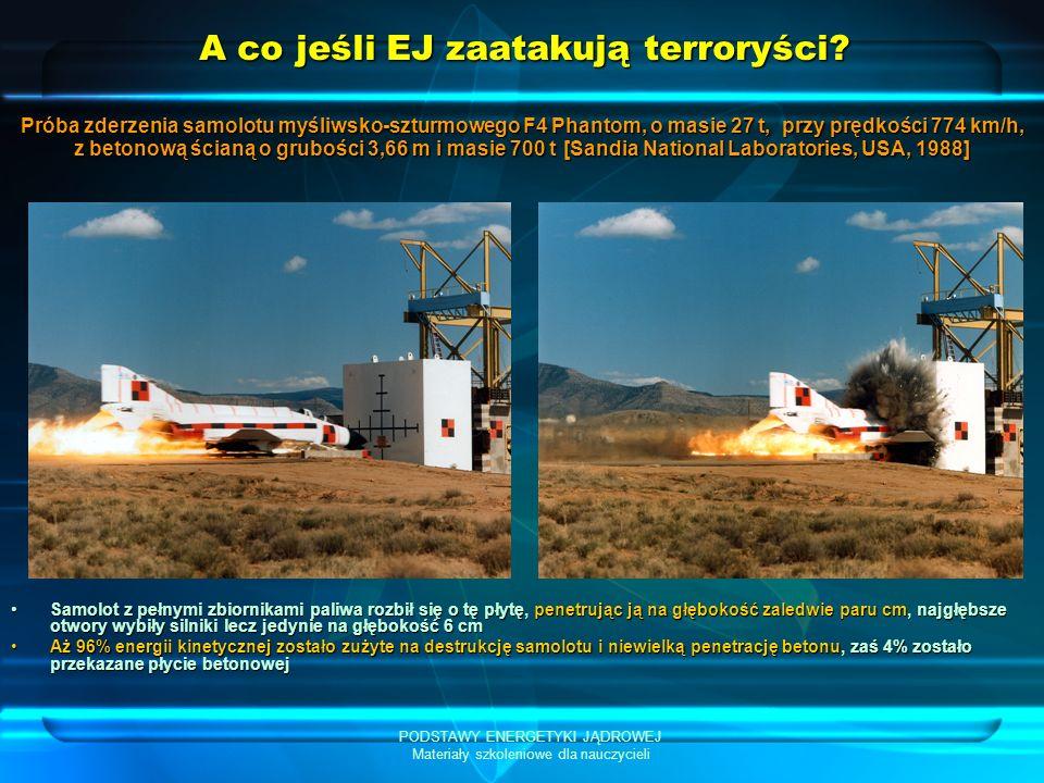 PODSTAWY ENERGETYKI JĄDROWEJ Materiały szkoleniowe dla nauczycieli A co jeśli EJ zaatakują terroryści? Samolot z pełnymi zbiornikami paliwa rozbił się