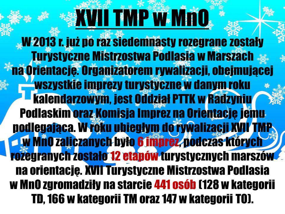 XVII TMP w MnO W 2013 r. już po raz siedemnasty rozegrane zostały Turystyczne Mistrzostwa Podlasia w Marszach na Orientację. Organizatorem rywalizacji