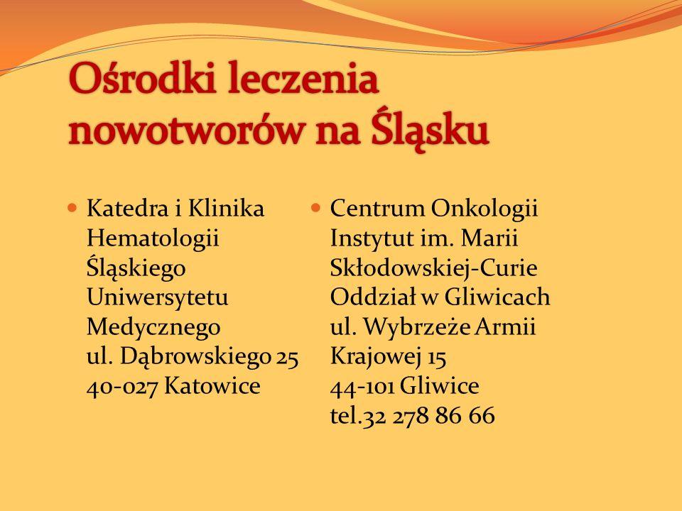 Katedra i Klinika Hematologii Śląskiego Uniwersytetu Medycznego ul.