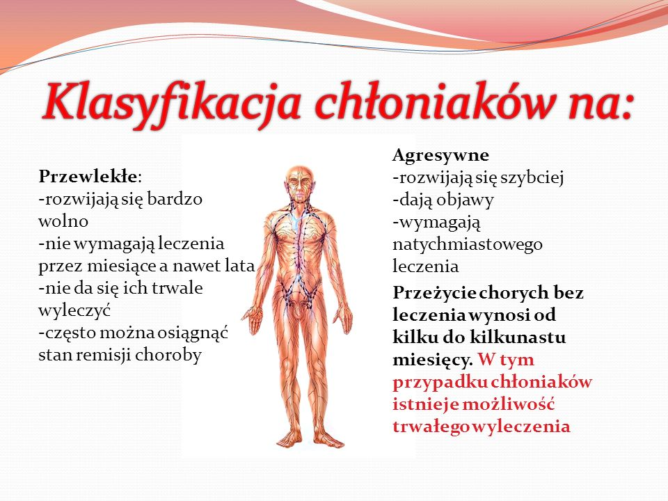 -Chłoniaki T-komórkowe i B-komórkowe -Chłoniaki Hodgkina (rzadsze i bardziej agresywne) i nie-Hodgkina (bardziej przewlekłe) -Chłoniaki w obrębie węzłów chłonnych i pozawęzłowe
