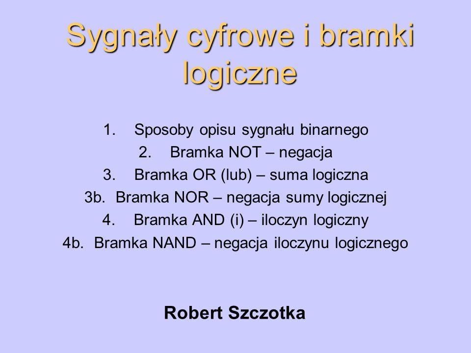 Sygnały cyfrowe i bramki logiczne Robert Szczotka 1.Sposoby opisu sygnału binarnego 2.Bramka NOT – negacja 3.Bramka OR (lub) – suma logiczna 3b.Bramka