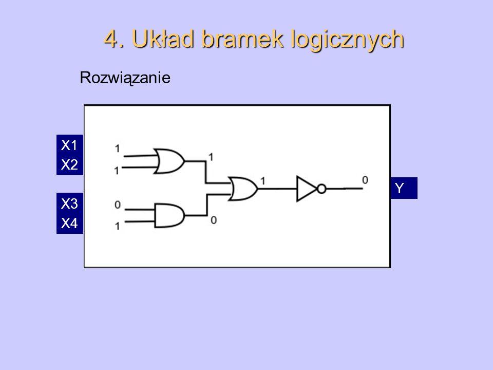 4. Układ bramek logicznych Rozwiązanie X1 X2 Y X3 X4