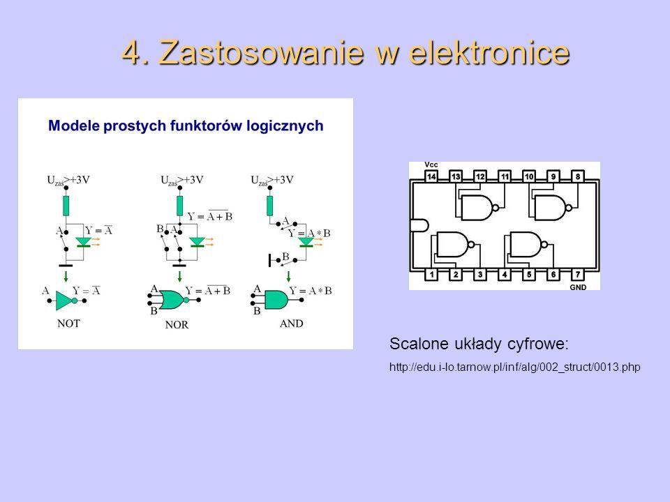4. Zastosowanie w elektronice Scalone układy cyfrowe: http://edu.i-lo.tarnow.pl/inf/alg/002_struct/0013.php