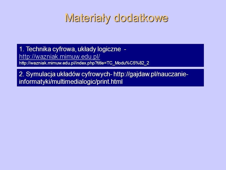 Materiały dodatkowe 1. Technika cyfrowa, układy logiczne - http://wazniak.mimuw.edu.pl/ http://wazniak.mimuw.edu.pl/index.php?title=TC_Modu%C5%82_2 ht