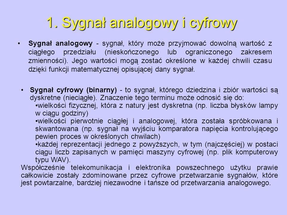 Sygnał analogowy - sygnał, który może przyjmować dowolną wartość z ciągłego przedziału (nieskończonego lub ograniczonego zakresem zmienności). Jego wa