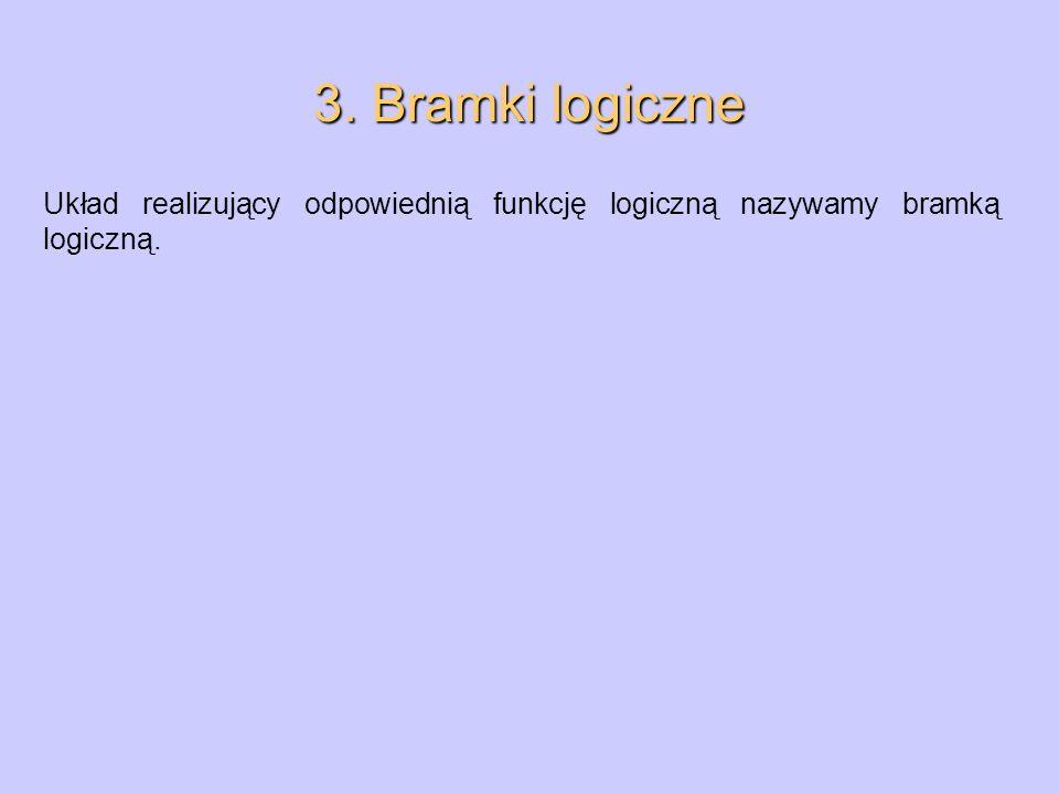 3. Bramki logiczne Układ realizujący odpowiednią funkcję logiczną nazywamy bramką logiczną.