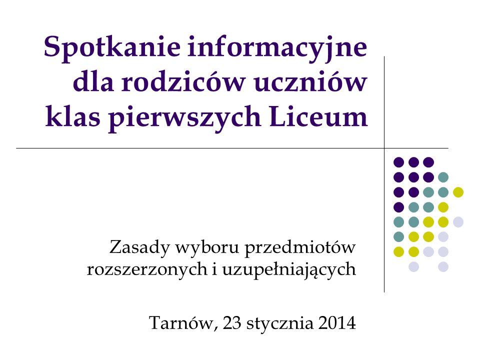 Spotkanie informacyjne dla rodziców uczniów klas pierwszych Liceum Zasady wyboru przedmiotów rozszerzonych i uzupełniających Tarnów, 23 stycznia 2014
