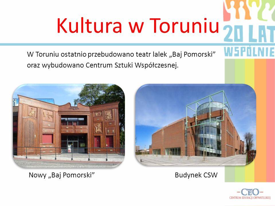 Kultura w Toruniu W Toruniu ostatnio przebudowano teatr lalek Baj Pomorski oraz wybudowano Centrum Sztuki Współczesnej.